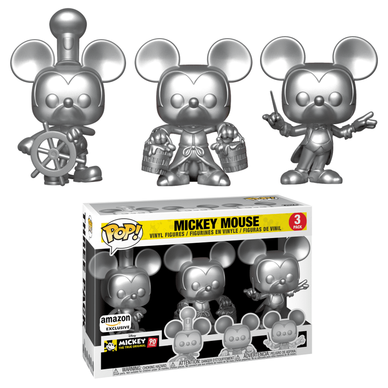 Mickey Mouse (Steamboat Willie, Apprentice, Conductor) (Silver 3-Pack)
