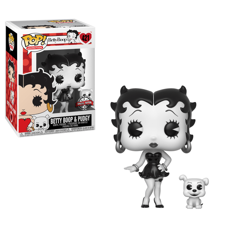 Betty Boop & Pudgy (Black & White)