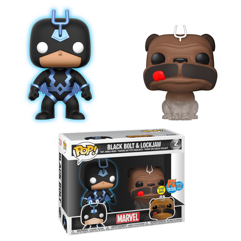 Black Bolt (Blue - Glow) & Lockjaw (Teleporting) (2-Pack) [SDCC]