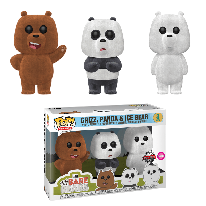 Grizz, Panda & Ice Bear (Flocked 3-Pack)